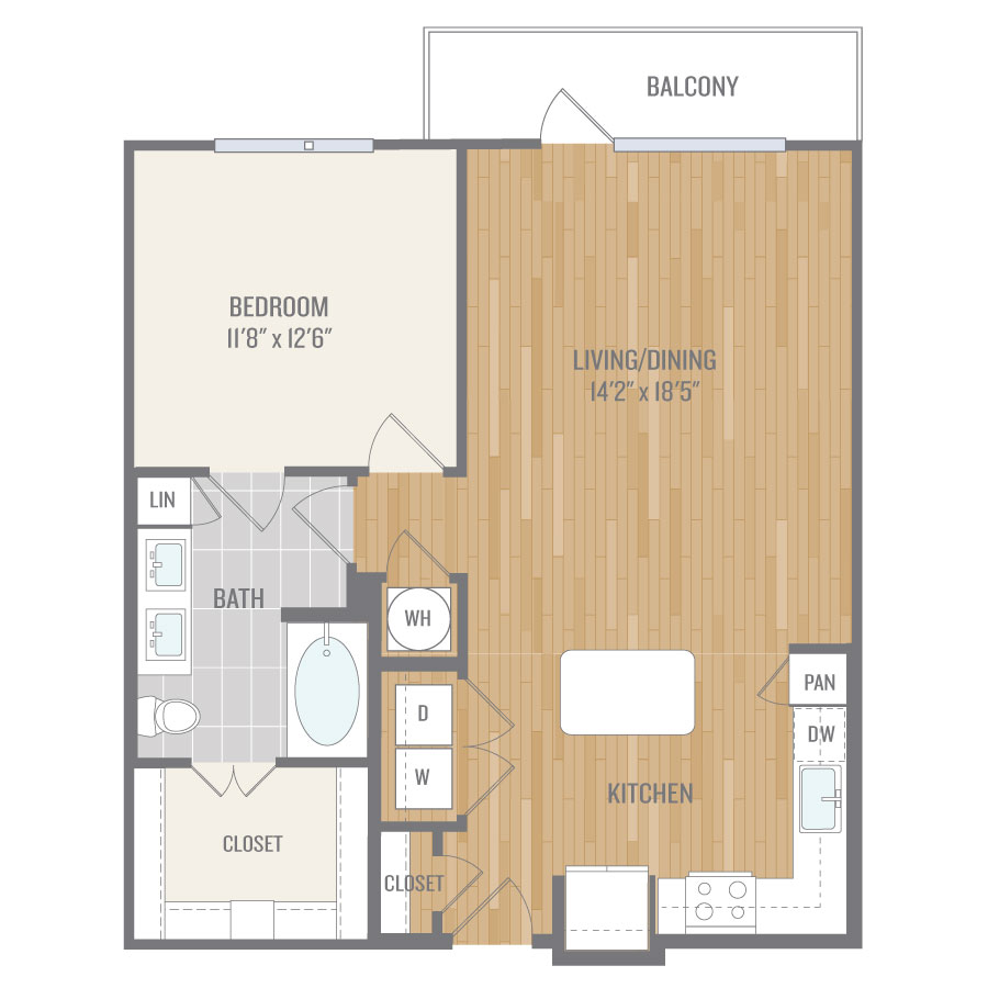 825 sq. ft. A9 floor plan
