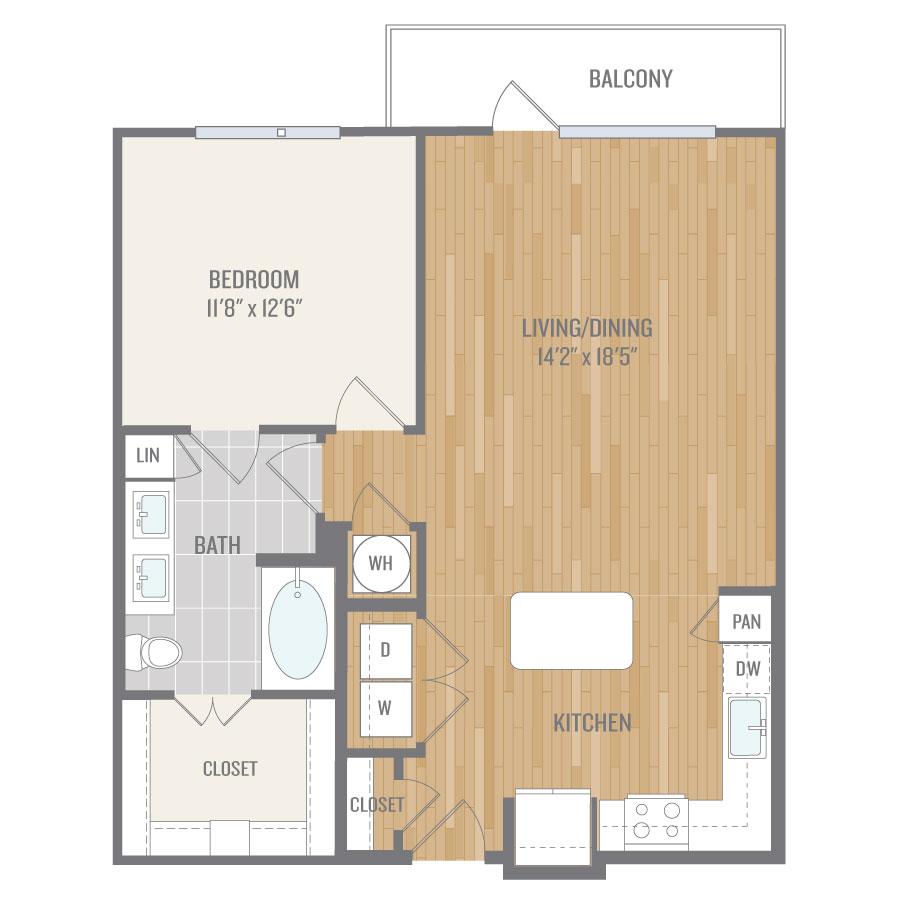 825 sq. ft. A9 floor plan