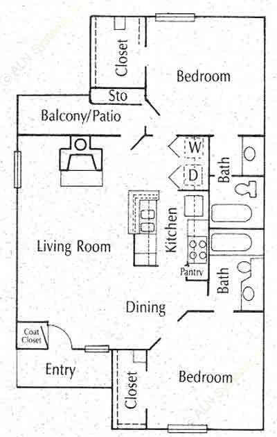 856 sq. ft. B1 floor plan