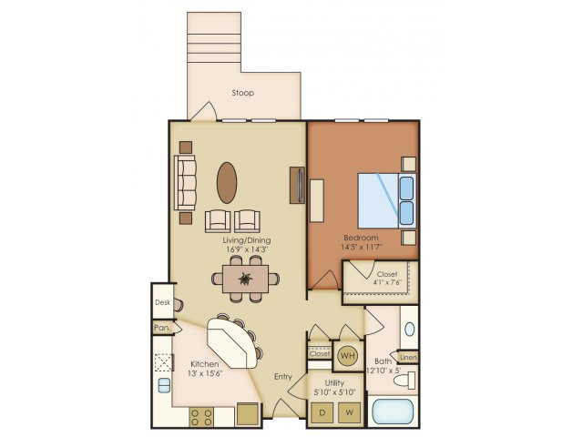 890 sq. ft. A2E floor plan