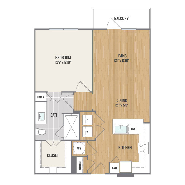 722 sq. ft. A3.1 floor plan