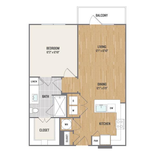722 sq. ft. A3 floor plan