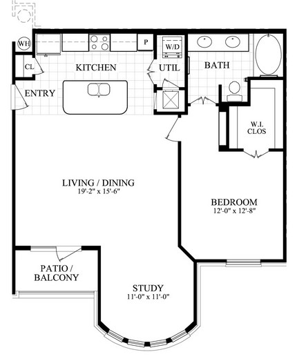 956 sq. ft. E floor plan