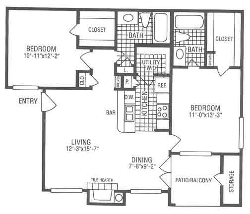 1,018 sq. ft. B2S floor plan