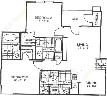907 sq. ft. B1 floor plan