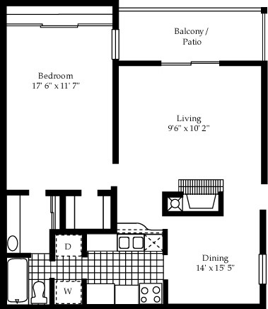 803 sq. ft. A9 floor plan
