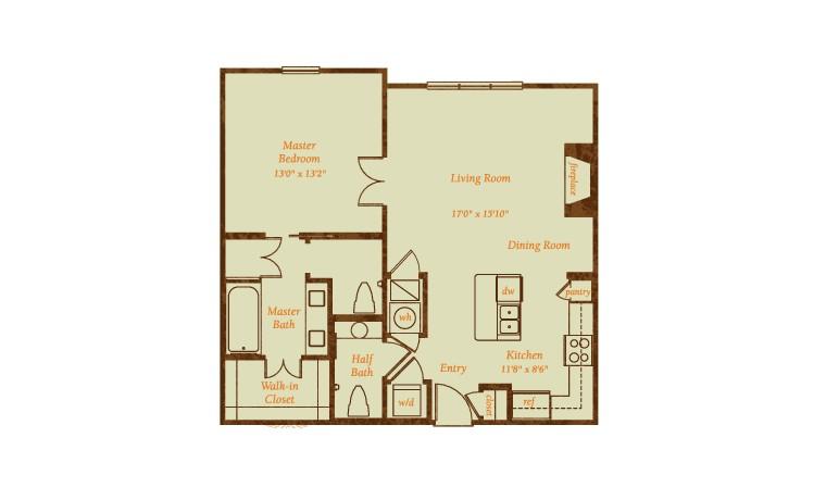 895 sq. ft. Segovia floor plan