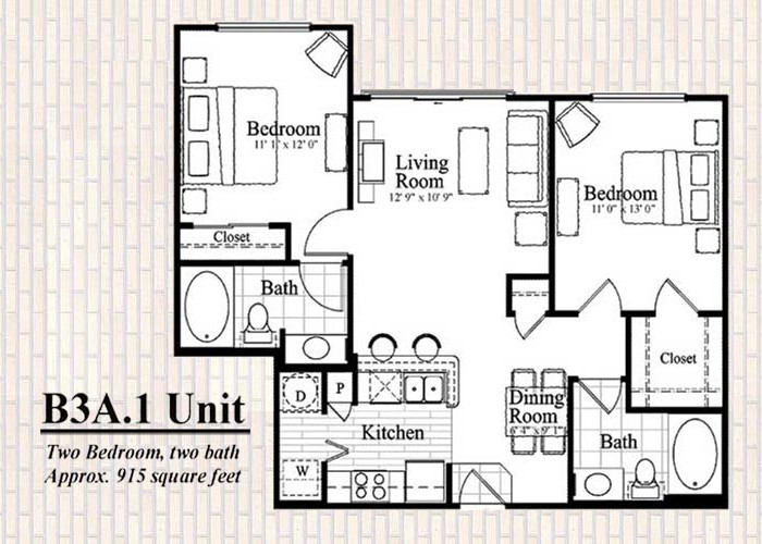 915 sq. ft. B3 floor plan