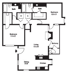 1,026 sq. ft. D floor plan