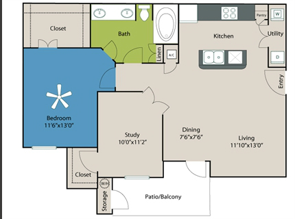 920 sq. ft. A2 floor plan
