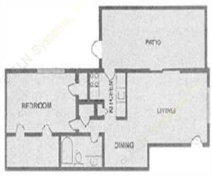 725 sq. ft. B1 floor plan