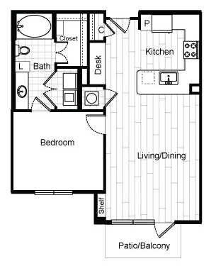 762 sq. ft. A2.2 floor plan