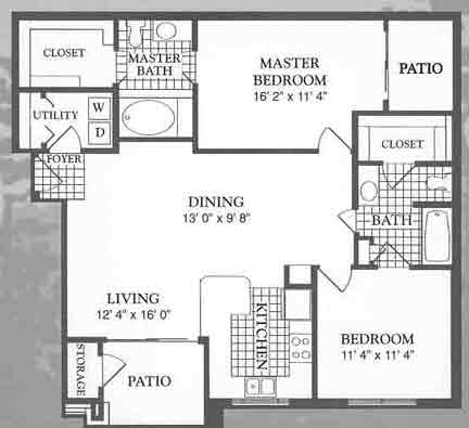 1,100 sq. ft. Citadel floor plan