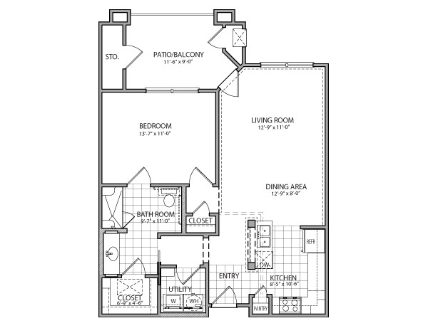 785 sq. ft. Napoli Indep. floor plan