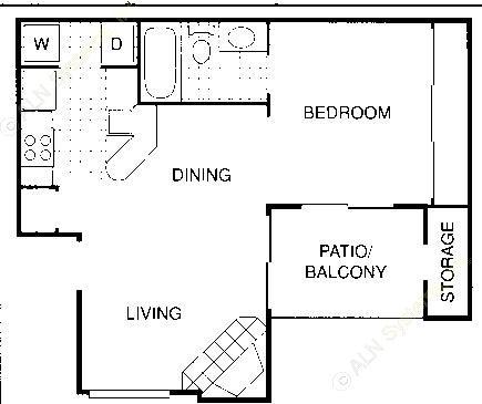 504 sq. ft. A floor plan