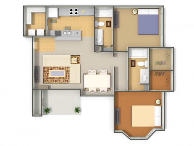 1,124 sq. ft. B2 floor plan