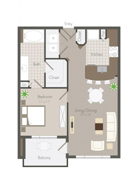 659 sq. ft. Birdsall floor plan