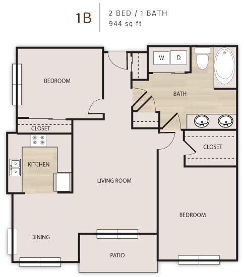 944 sq. ft. D1 floor plan