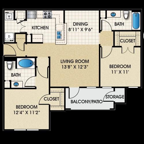 1,017 sq. ft. B1 floor plan