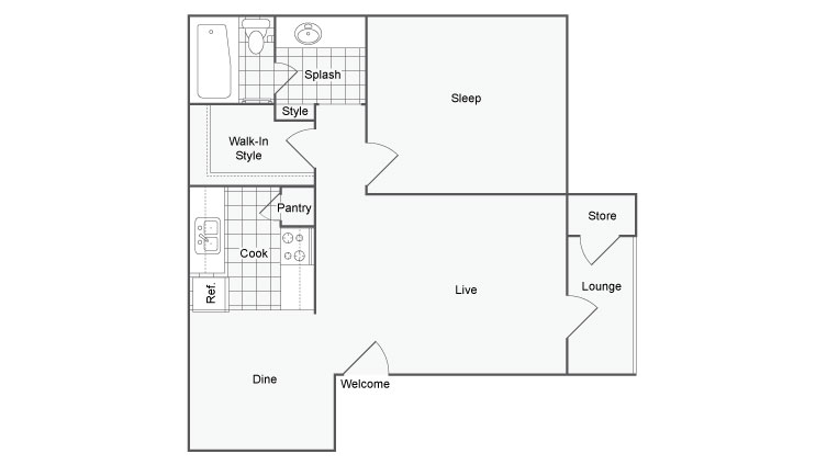 720 sq. ft. Sundance floor plan