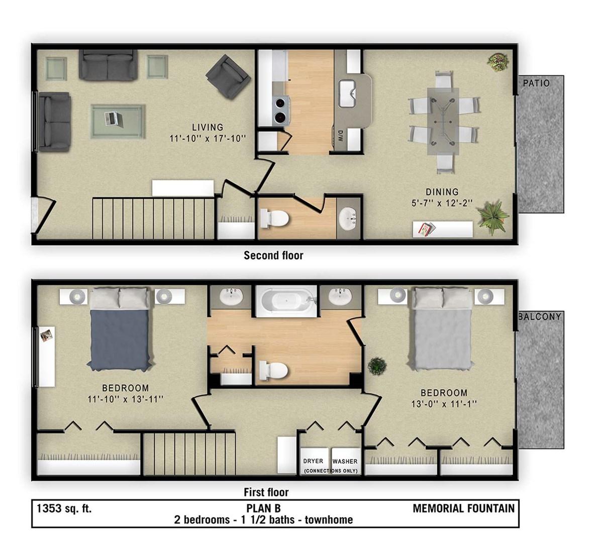 1,353 sq. ft. B floor plan