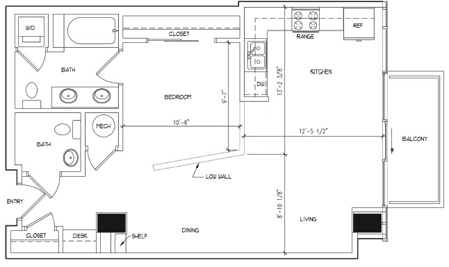 748 sq. ft. DEGAS floor plan