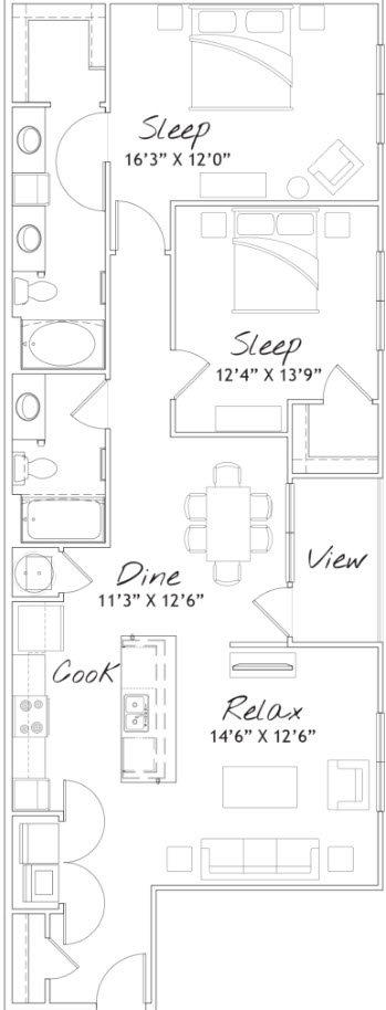1,260 sq. ft. B2 floor plan