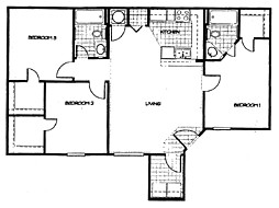 1,143 sq. ft. 60% floor plan