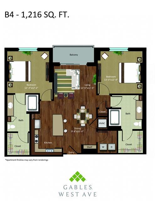 1,216 sq. ft. DB4 floor plan