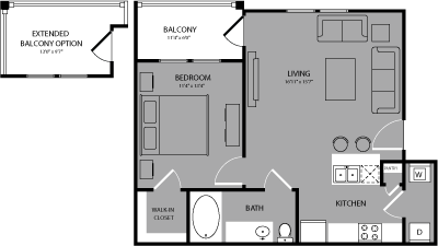 652 sq. ft. Broadway floor plan