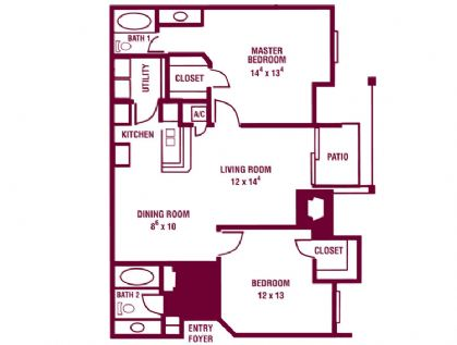 921 sq. ft. Willow floor plan