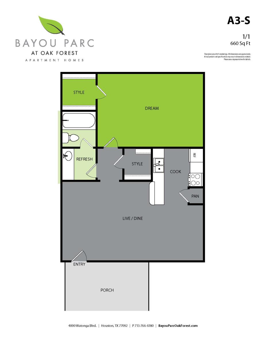 660 sq. ft. A3-S floor plan