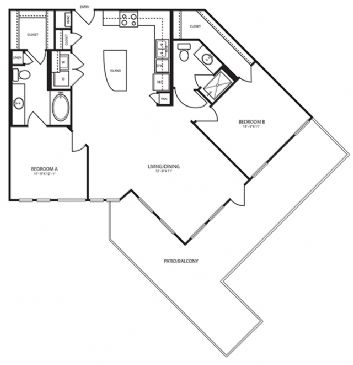 1,131 sq. ft. B6 floor plan