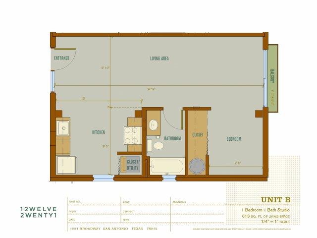 613 sq. ft. B floor plan