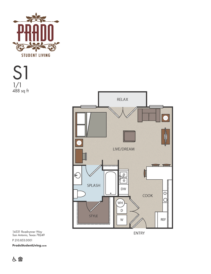 488 sq. ft. S1 floor plan