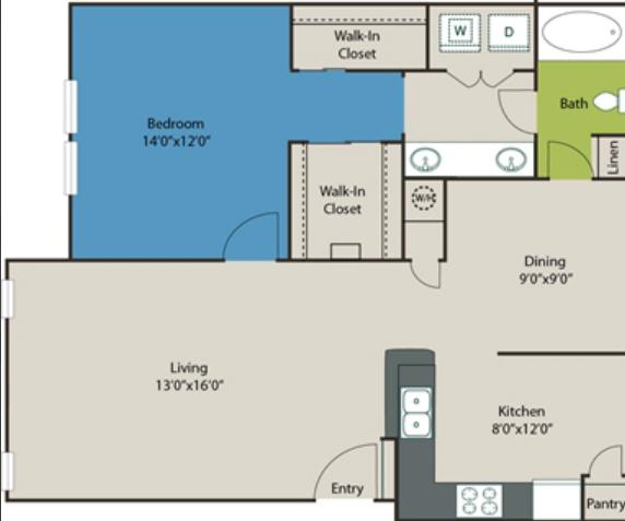 943 sq. ft. A6 floor plan