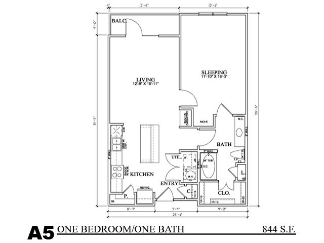 841 sq. ft. A5E floor plan