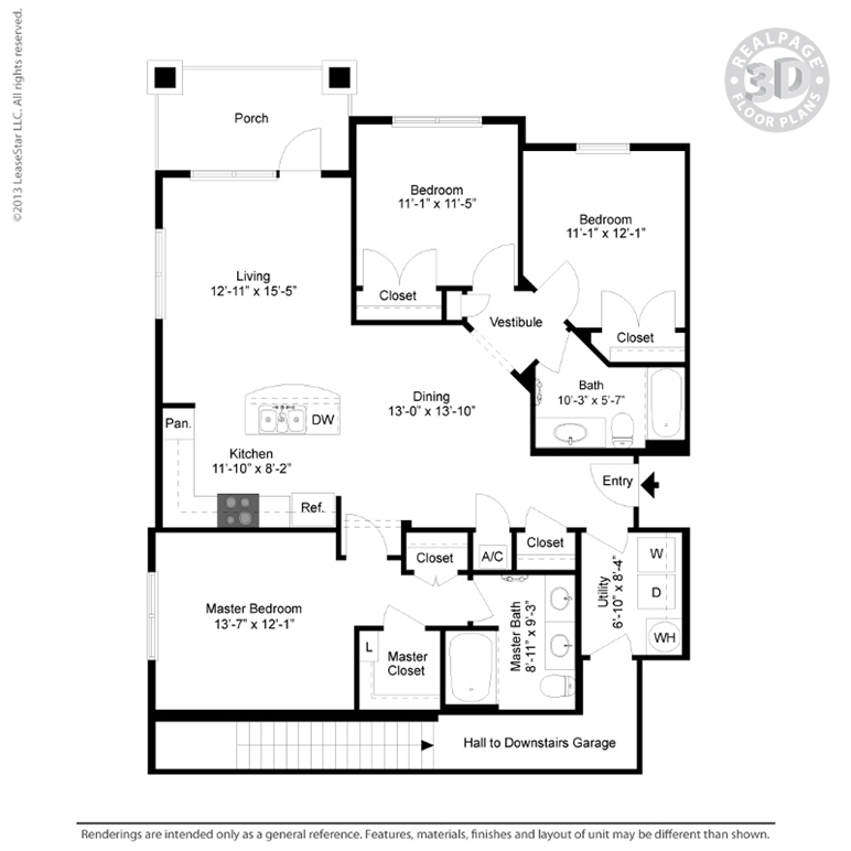 1,369 sq. ft. C2 Garage floor plan