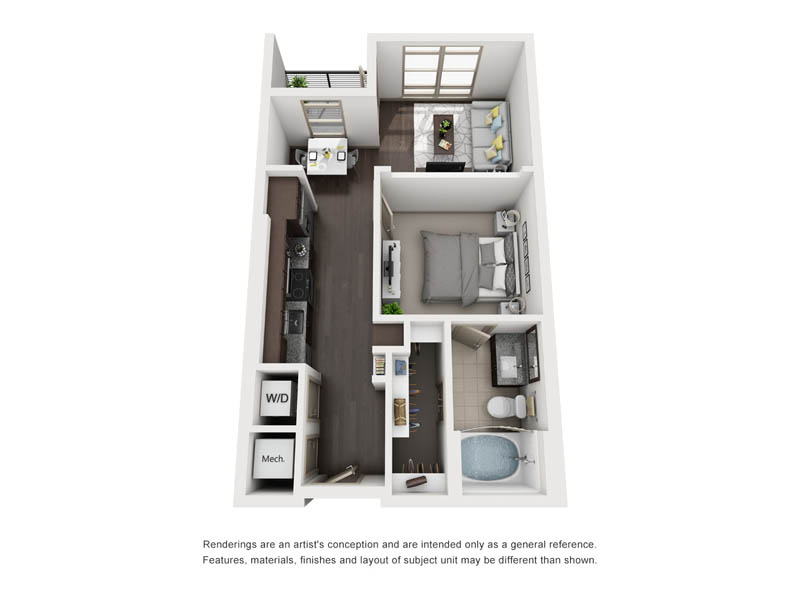 621 sq. ft. A1-2 floor plan