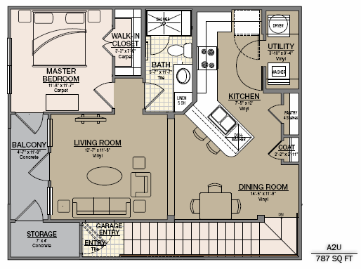 811 sq. ft. A6 floor plan