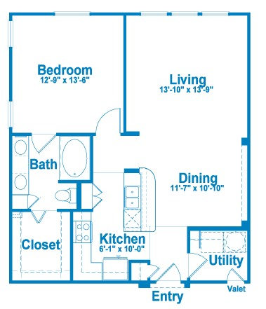 865 sq. ft. A4 floor plan