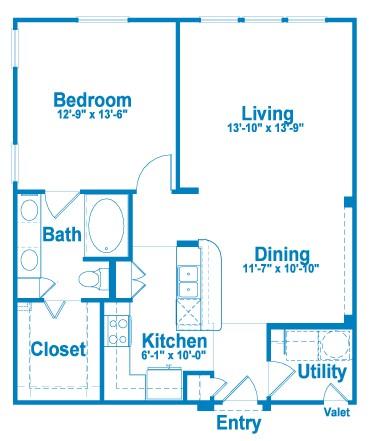 865 sq. ft. A4 floor plan