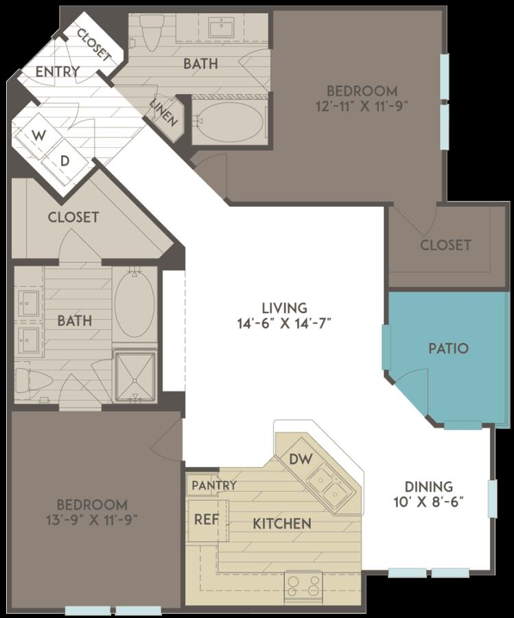 1,163 sq. ft. B2 floor plan