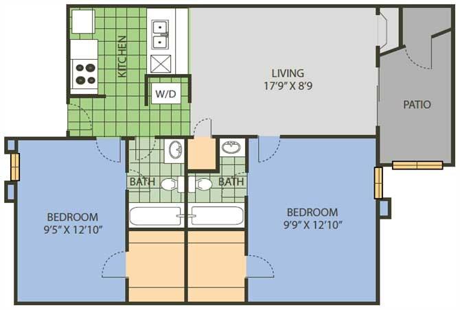 835 sq. ft. Advantage floor plan