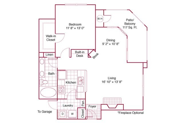 840 sq. ft. A3 floor plan