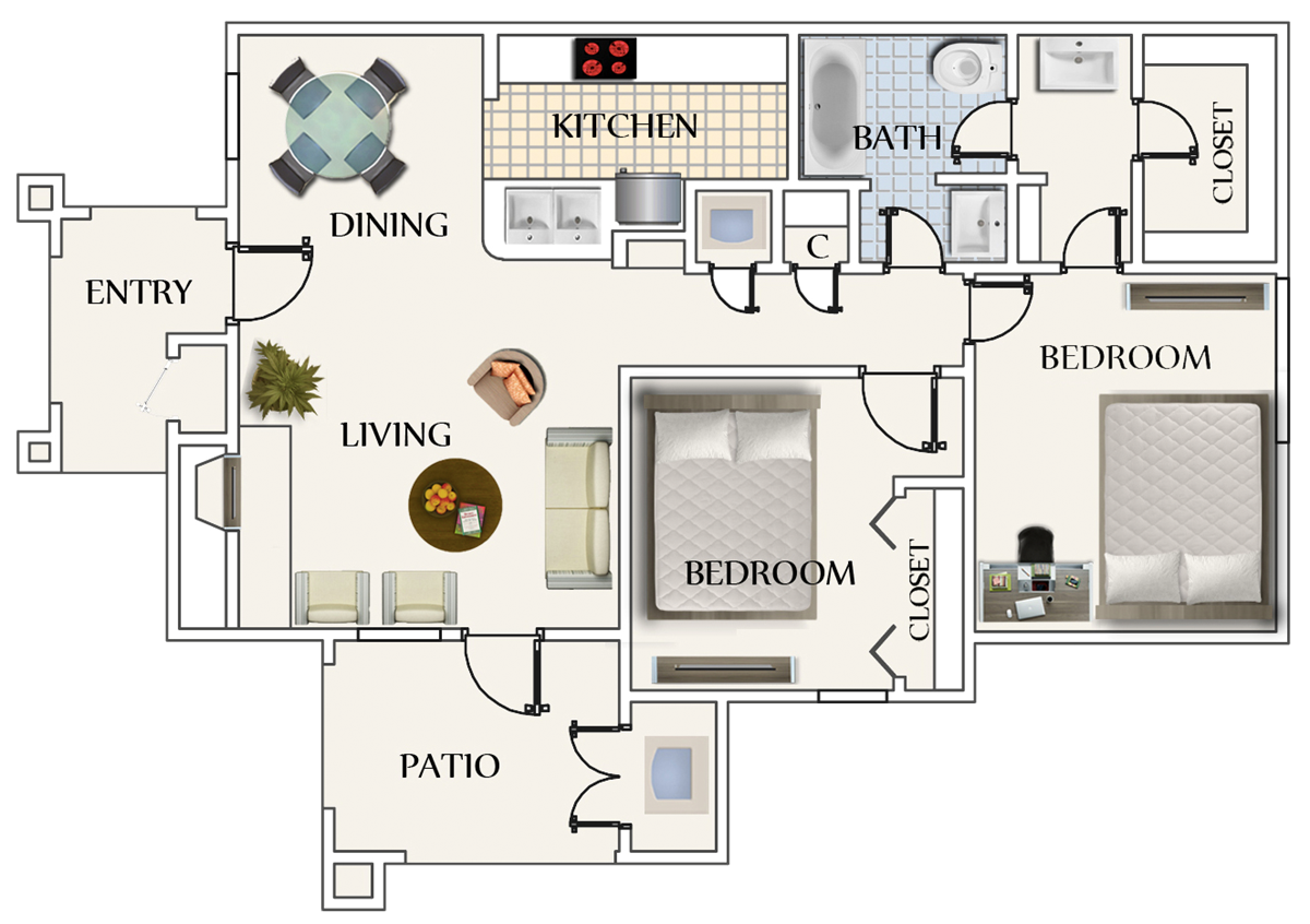 842 sq. ft. B1 floor plan