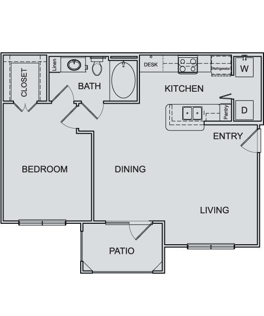 751 sq. ft. A2 floor plan