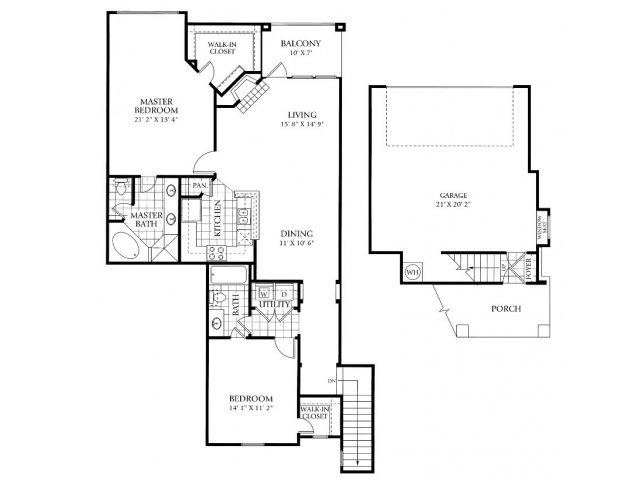 1,364 sq. ft. B4 floor plan