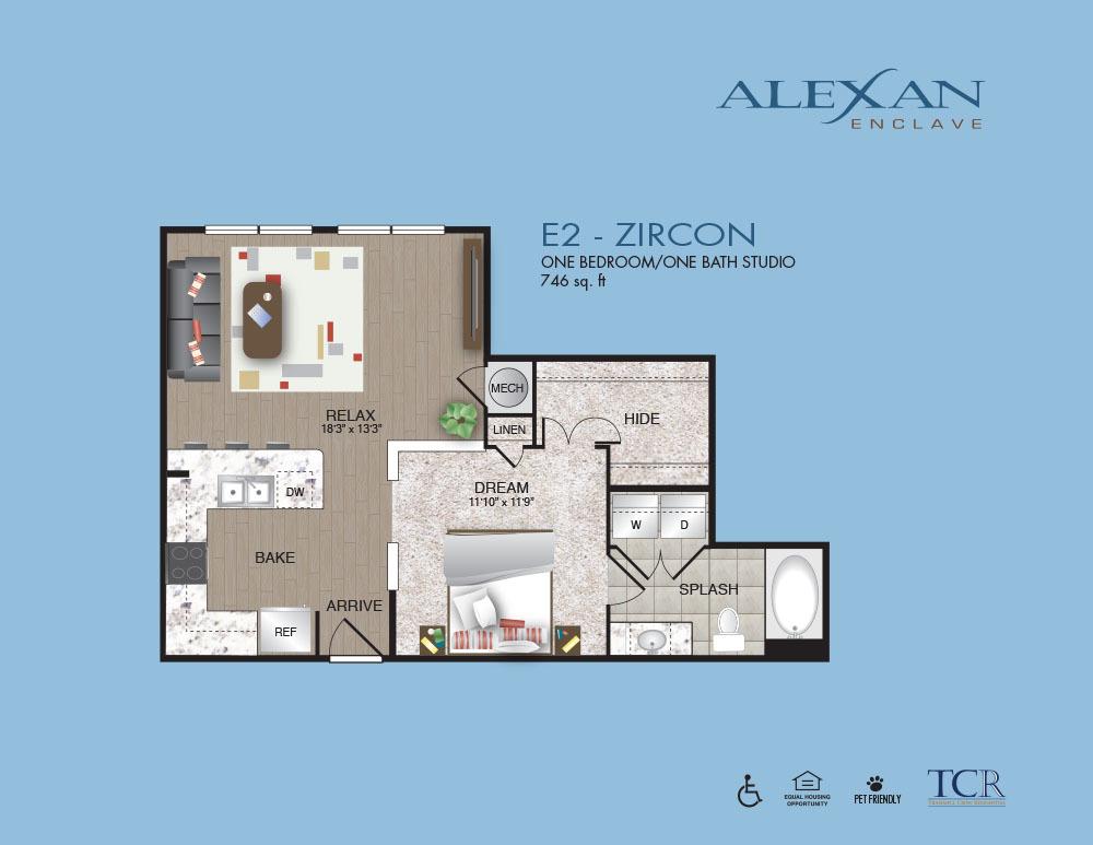746 sq. ft. Zircon floor plan