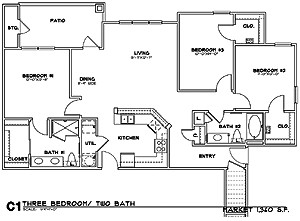 1,360 sq. ft. C1G floor plan